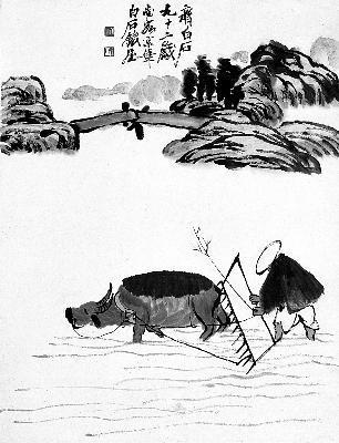 齐白石所绘的《农耕图》是田园牧歌式的景象.图片