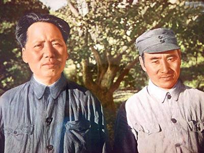 林彪 毛泽东/资料图片:一九四五年毛泽东和林彪在延安
