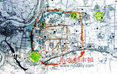 良渚古城平面示意图。良渚古城略呈圆角长方形,正南北方向。总面积达290多万平方米。